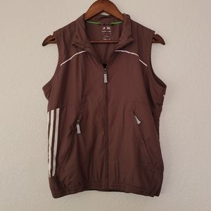 Brown adidas climaproof golf sleeveless zip vest
